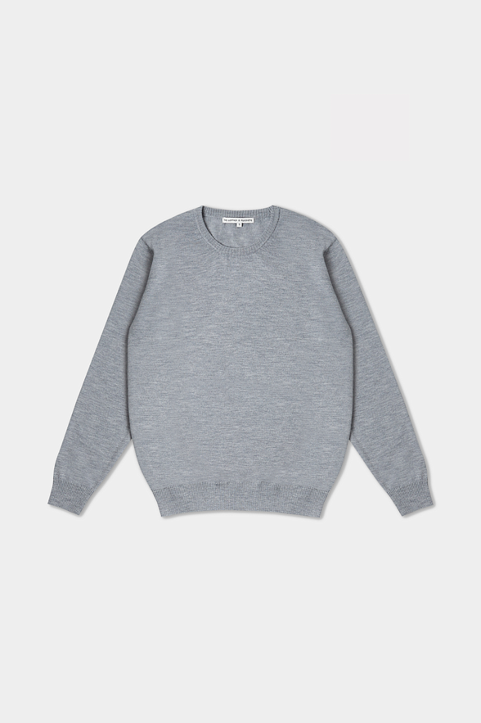 MERINO WOOL PLAIN CREWNECK SWEATER LIGHT GREY (MEN)