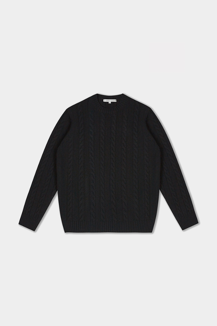 MERINO WOOL CABLE CREWNECK SWEATER BLACK (MEN)