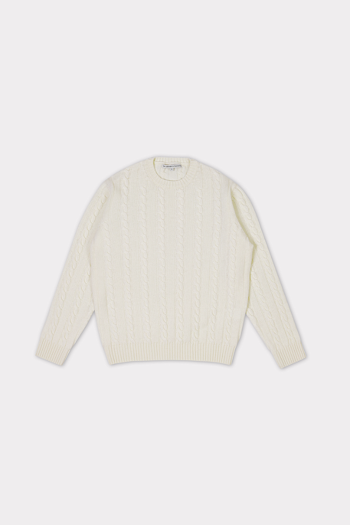 MERINO WOOL CABLE CREWNECK SWEATER WHITE (MEN)